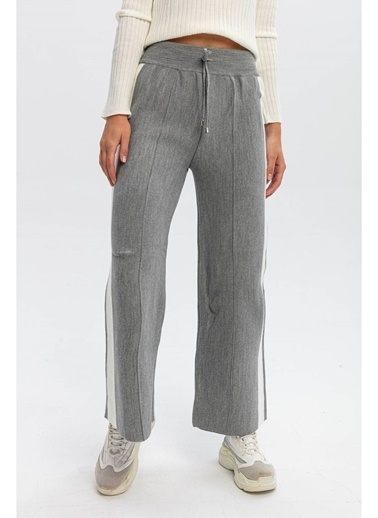 Tiffany&Tomato Yanları Şeritli Bol Paça Triko Pantolon-Siyah Gri